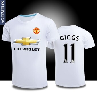 Man sports Football united round neck cotton short-sleeved t-shirt(Manchester United white 11)