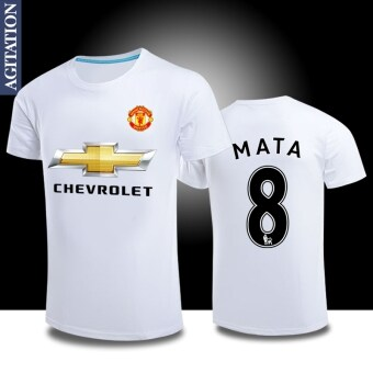 Man sports Football united round neck cotton short-sleeved t-shirt(Manchester United white 8)