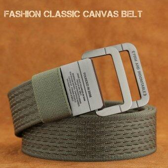 Harga Material Military Tactical Men Belt Double Ring Buckle ThickenCanvas Belts For Men 105CM(Army Green)