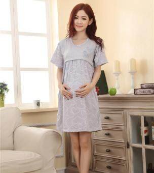Maternity Clothing Casual Women Clothes Striped Maternity DressNursing Dress Long-Sleeve Pregnant Women Breastfeeding Dress-grey