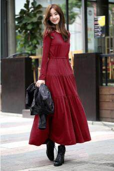 Maternity Dress Loose Long Sleeves Big Size Dress Pregnant WomenCake Dress Burgundy