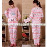 Maternity Wear Pyjamas Set Comfortable for Mommy to Be - Design Pink Bear Stripe
