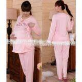Maternity Wear Pyjamas Set Comfortable for Mommy to Be - Design Pink Wording