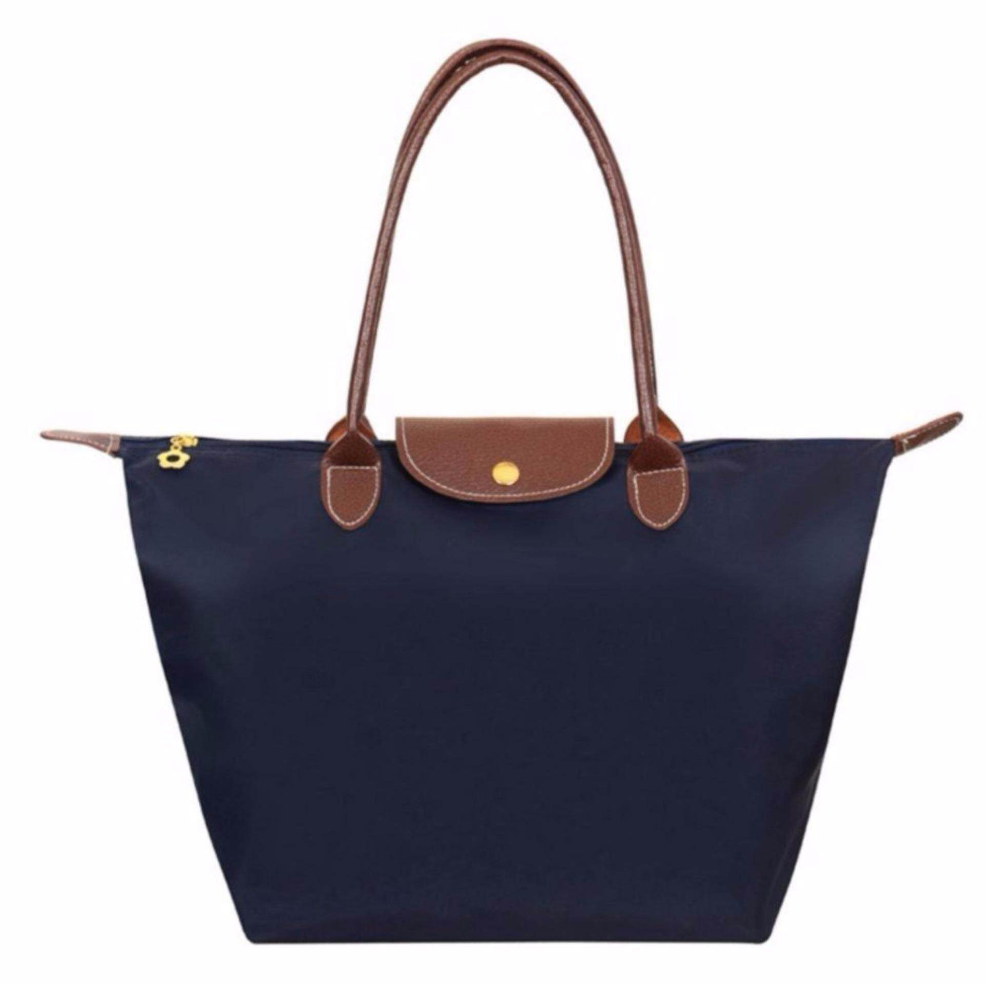 European Large Tote Bag Women Handbag Waterproof Foldable Dark Blue