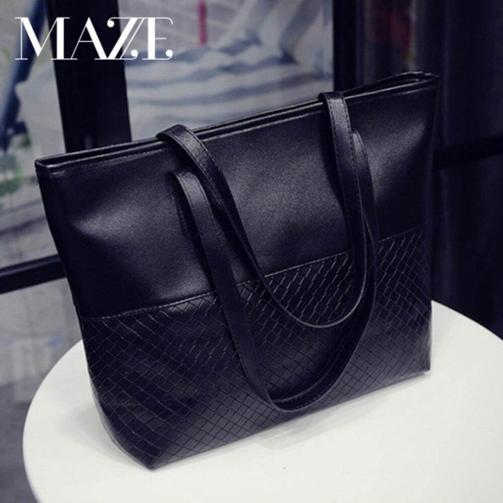 Ximple Fashion Large Tote Bag Women Handbag PU Leather (Black)