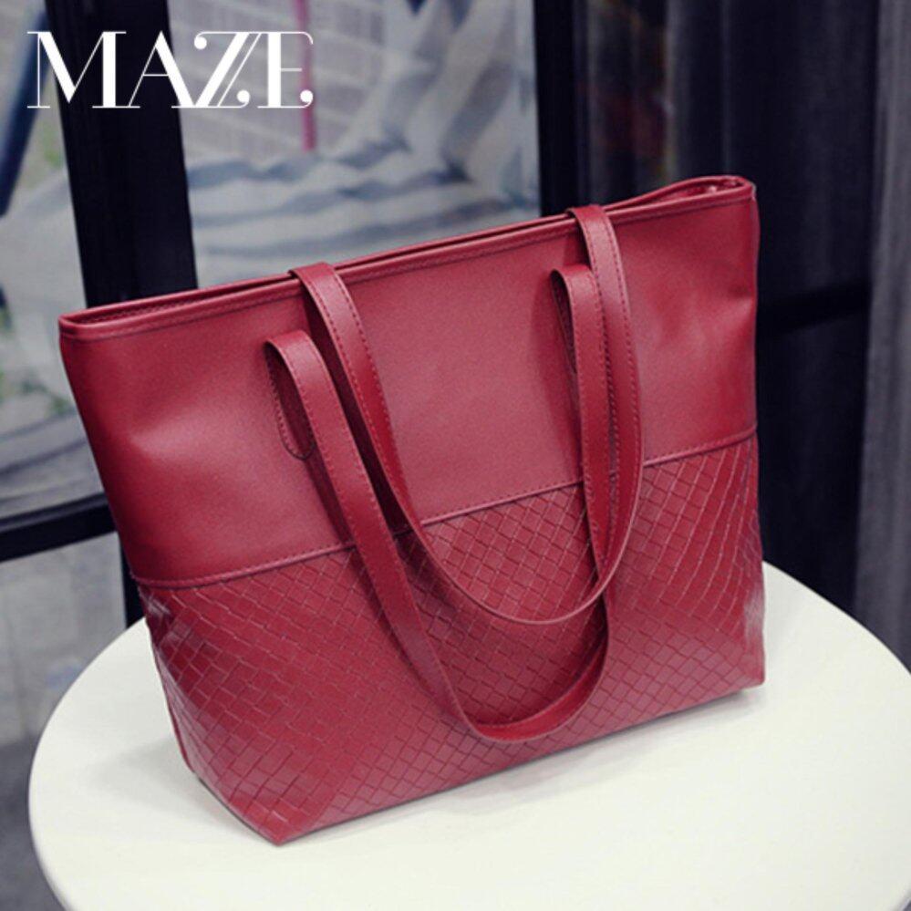 Ximple Fashion Large Tote Bag Women Handbag PU Leather (Red)