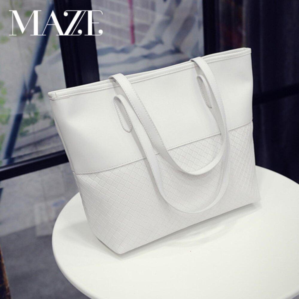 Ximple Fashion Large Tote Bag Women Handbag PU Leather (White)