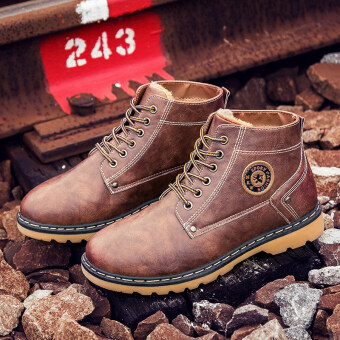 Harga Men Boot Handmade Genuine Leather Shoes Winter Warm Snow Boots PlusCotton Mens Shoes (Brown)