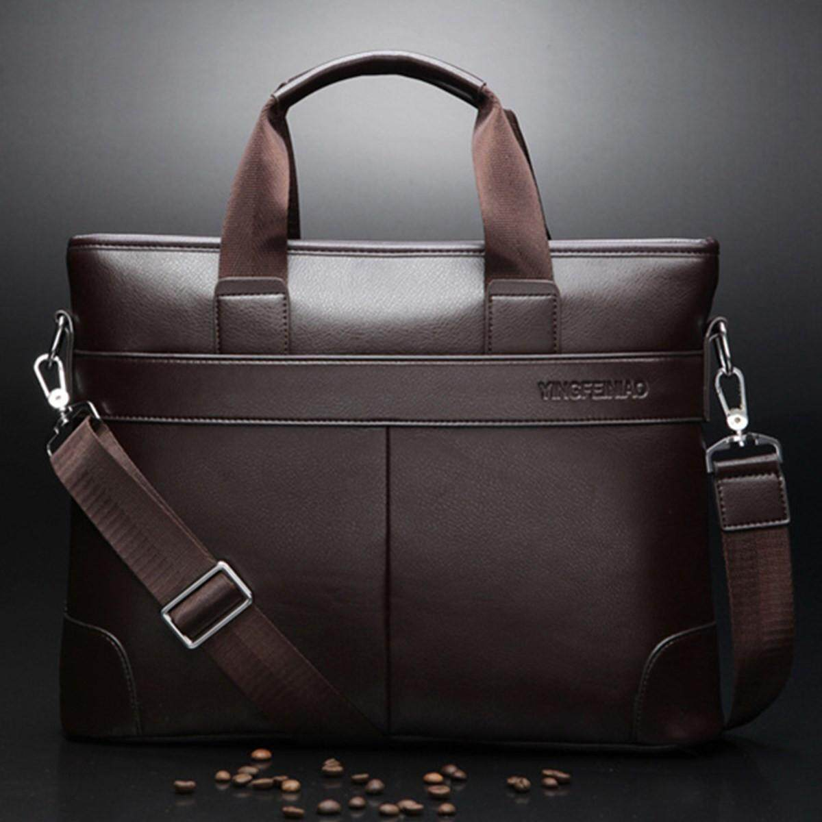 Beli Men Briefcase Leather Bag Business Shoulder Messenger Bags Laptop Handbag Intl Seken