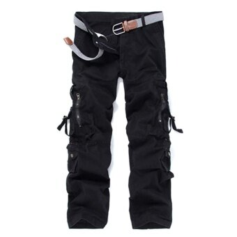 Men Casual Cargo Pants Multi Pocket Military Overall OutdoorsHiking Mountain Climbing Long Pants Trousers Spring Summer - black
