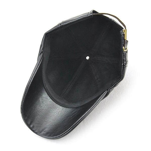 ... Pria Kualitas Tinggi Seperti Kulit Hangat PU Topi Baseball Kasual Tahan  Angin Moto Topi Kilas Balik c6ea24e7a5