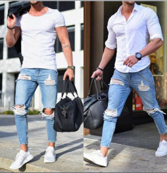 Men Jeans Stretch Destroyed Ripped Design Fashion Skinny Jeans Men Demin Pants
