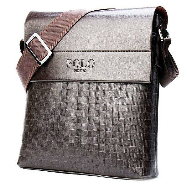 Stylish Checkered Design Man Leather Premium Polo Shoulder Messenger Bag