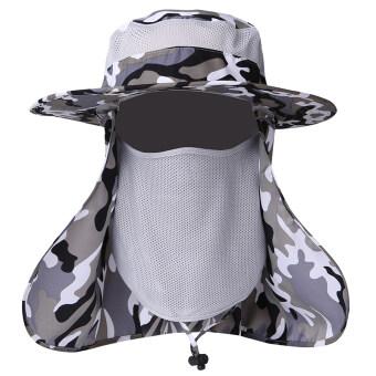 Men outdoor camouflage hat summer hat (Head around the 61-65 camouflage light gray) (Head around the 61-65 camouflage light gray)