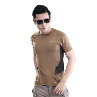 Men Outdoor Tactical Military Stretch Quick Dry T Shirt Tee FitnessBreathable Short Sleeve Athletic Sport O Neck Tops - Khaki