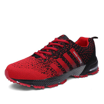 Harga Men running shoes fashion breathable sport and leisure shoes unisex(Red)(Export)(Intl)