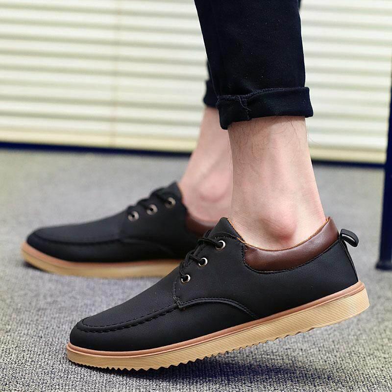 Sepatu Pria Baru Pria Kasual Gaun/Formal Sepatu Ujung Sayap Suede Kulit Datar Renda Hingga Hitam-Internasional