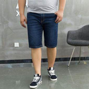 Harga Men Stretch Denim Jean Shorts Plus Size Jeans Stretchy Summer MenShort Pants Trouser - dark blue