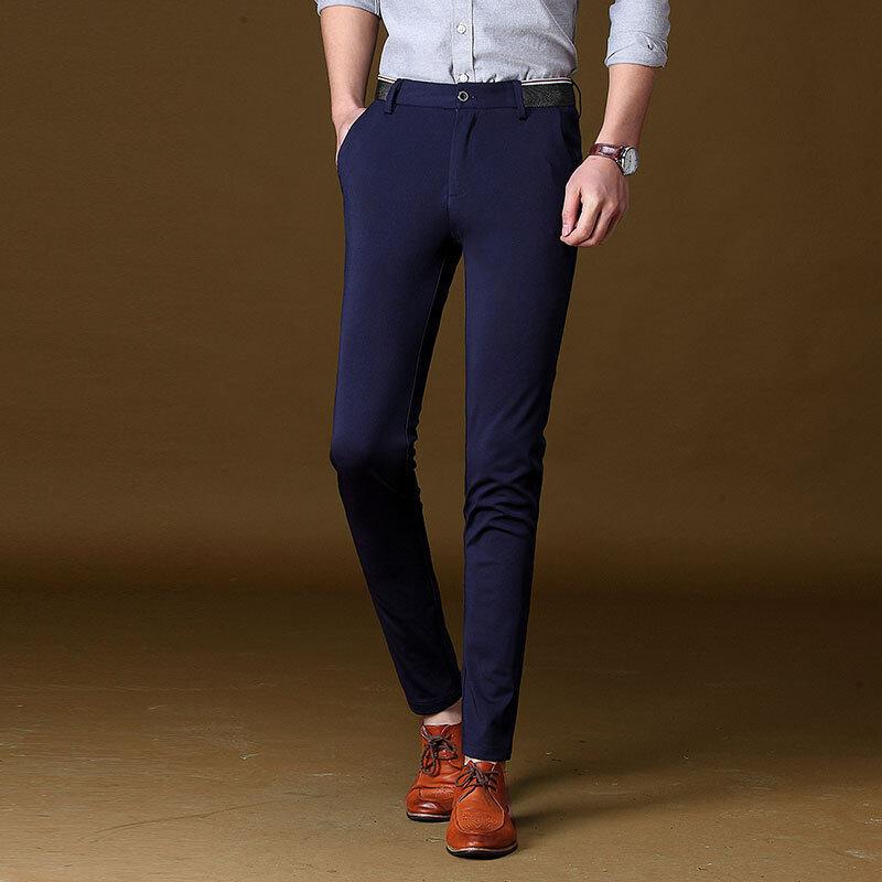 Pria Setelan Celana Kantor Kerja Formal Celana Pria Anti Keriput Bisnis Celana Formal Pria Chino 0206-Internasional