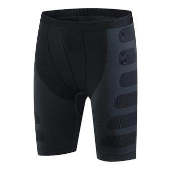 Men Tight Compression Outdoor Running Cycling Stretch Breathable Quick Dry Pants(Black-Grey)