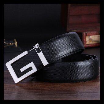 Men Women G Alphabet Design Leather Belt Buckle Belts Tali Pinggang(Black)