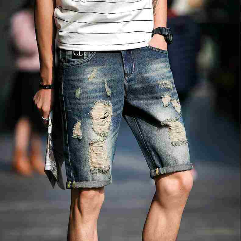 Men's Casual Short Jeans Summer 2018 Vintage Mens Denim Shorts Ripped Knee Length Lightweight Shorts Pants 02 - intl