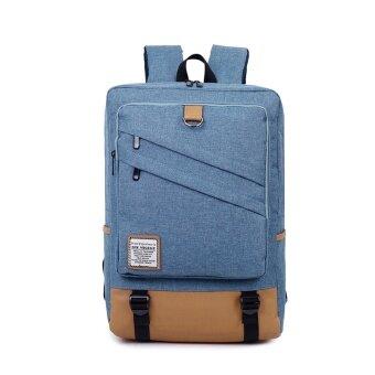 Men's computer bag 15.6-inch laptop backpack female college students school bags casual travel shoulder bag (Blue 18 inch)