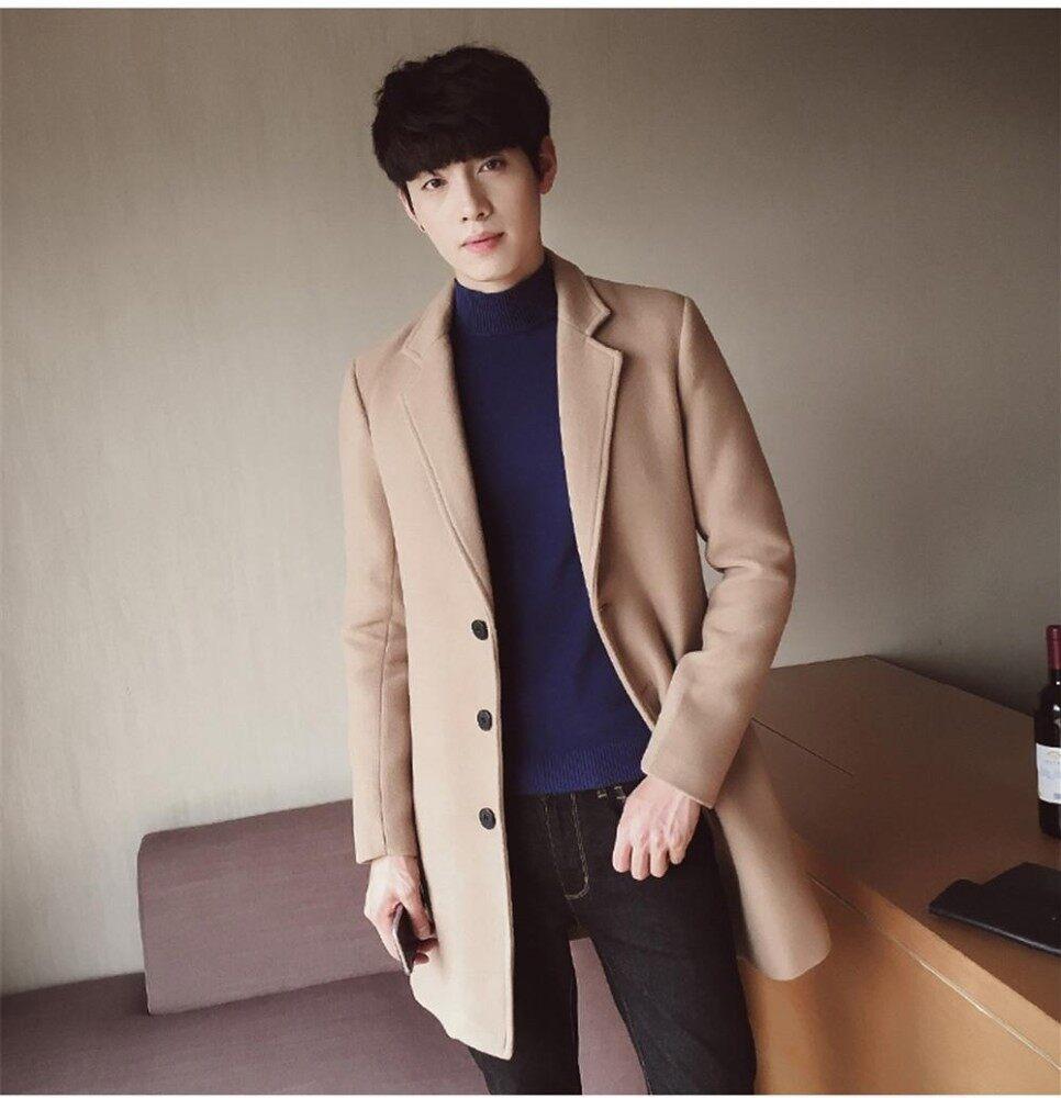 ... Mode untuk Pria Gaya Ramping Korea Jaket Wol Mantel Angin Musim Gugur Mantel  Musim Dingin Jaket ... 515c2a1f7b