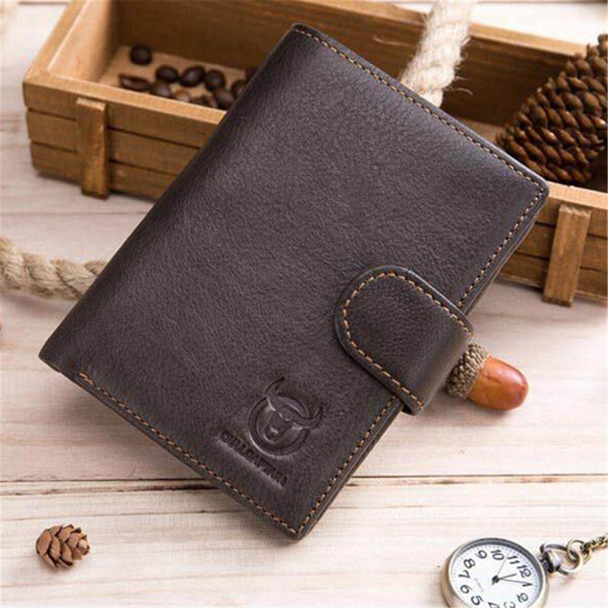 Harga Men S Genuine Leather Trifold Short Wallet Casual Vintage Card Purse Holder Intl Oem Asli