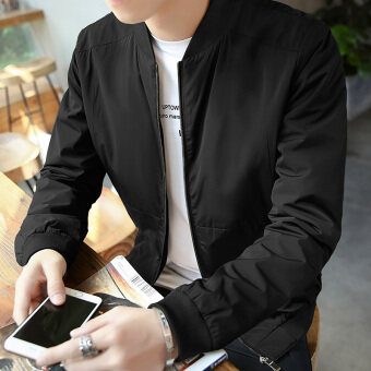 Harga Men's New style Spring and Autumn casual jacket (Memory fabric black) (Memory fabric black)