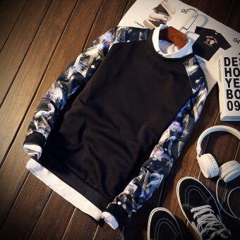 Men's Slim Fit Round Neck Long Sleeve T-Shirt (Blue flower black)