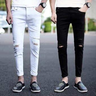 Harga Mens Casual Skinny Jeans Pants Men Solid Pencil Jeans Ripped BeggarJeans with Knee Hole for Youth Men