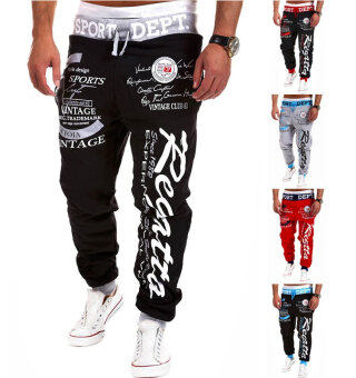 Men's Fashion Casual Letters Printed Patch Pocket Sports BundleFoot Cotton Sweat Absorbent Pants Trousers Joggers(Color:Black3) - 5