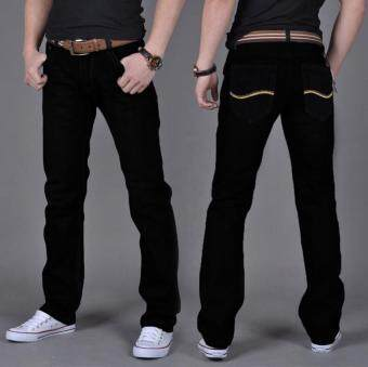 Harga Men's Fashion Casual Wild Straight Slim Jeans Trousers