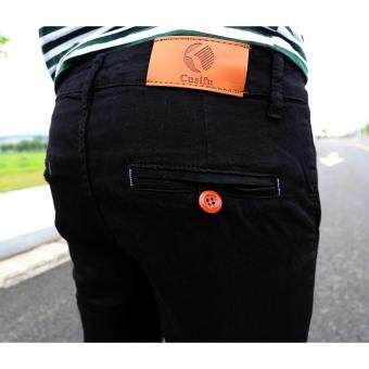 Mens Fashion Slim Casual Denim Pants Youth Cotton Skinny Men Jeansmovement Fit Trousers Black - 3