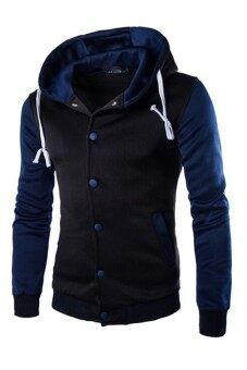 Harga Mens Hoodie Drawstring Baseball Jacket (Black/Navy)