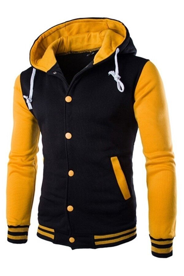 Mens Hoodie Drawstring Baseball Jacket (Black/Yellow) | Lazada ...