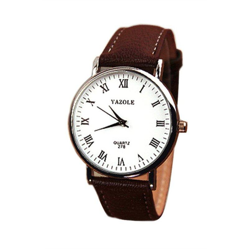 Mens Luxury Fashion Brown Faux Leather Strap Watch Malaysia