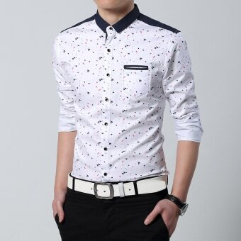 Men's New style Slim fit floral tide long-sleeved shirt (White)