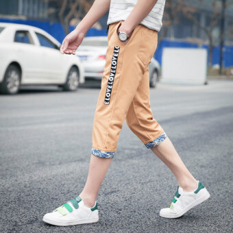 Men's pant pants male summer thin section 7 points pants men casualpants men Slim fit shorts men Korean-style pants men's tide(Yellowish brown color)