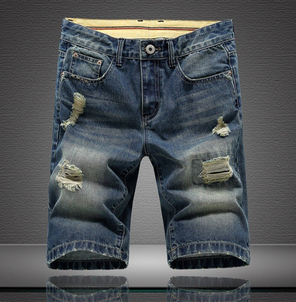 Mens Short Jeans Pants Denim Casual Jeans Straight Trousers Thigh Ripped Holes Shorts - intl