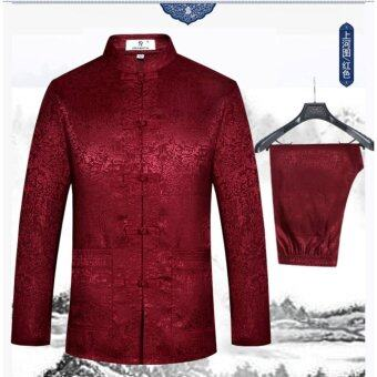 Harga Men's Silk Traditional Chinese Tang Suit Coat clothing Kung Fu TaiChi Uniform Red wine