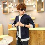 ซื้อ Men S Thin Korean Fashion Sports Leisure Baseball Athletic Outdoor Jackets Color Dark Blue ใน จีน