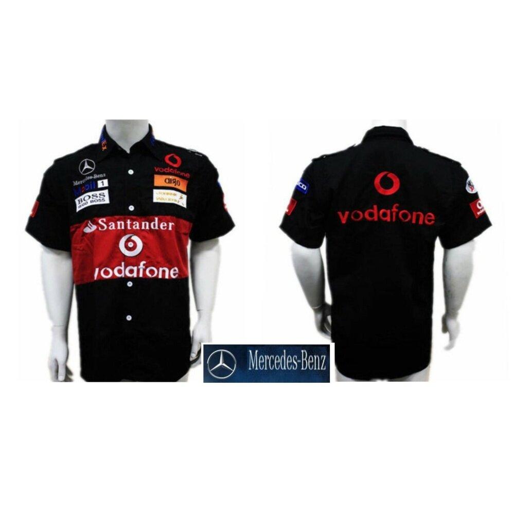 Mercedes Benz Mobil 1 Racing Team F1 Shirt BLACK Vodafone