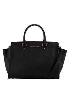 Michael Kors Selma Saffiano Leather Medium Satchel - (Black)