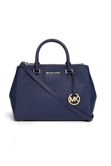 Harga Michael Kors SuttoN Saffiano Leather Satchel - MEDIUM NAVY