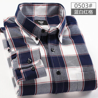 MJX2017 autumn brushed men's plaid shirt long-sleeved Korean-styleTeenager casual bottoming shirt jacket inch (0503 (blue and redcell))