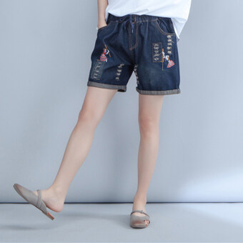 Harga MM national wind patch New style Plus-sized wild denim shorts