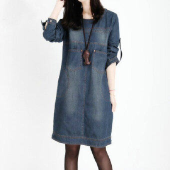Harga MM retro New style medium-length denim dress (Denim blue (long sleeve))