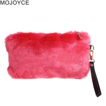 Mojoyce Portable Mewah Tas Tangan Mini Tinggi Imitasi Bulu Pesta Malam Gaun Aksesori Dompet Tangan